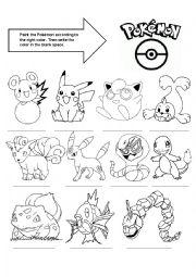English Worksheet: Larning colours with Pokemon