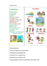 English Worksheet: SUMMERTIME!  (a poem)