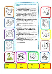 English Worksheet: ANIMAL DESCRIPTION BODY PARTS READ, MATCH AND WRITE THEIR NAME