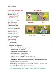 English Worksheet: WHAT THE ANIMALS SAY (a poem)