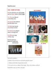 English Worksheet: FIVE FURRY KITTENS (a poem)
