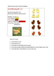 English Worksheet: GOOD MORNING, MRS. HEN (a poem)