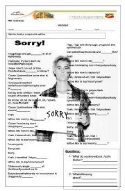 English Worksheet: SONG WORKSHEET SORRY - JUSTIN BIEBER