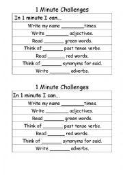 English Worksheet: 1 Minute English Challenges