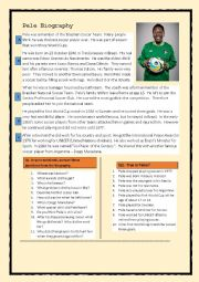 English worksheet: Pele Biography