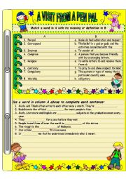 English Worksheet: A visit from a pen pal