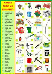 English Worksheet: Gardening tools and equipment 1