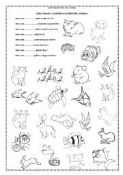 English Worksheet: how many pets are there?