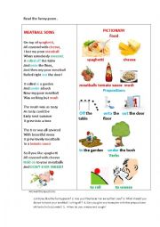 English Worksheet: MEATBALL SONG (a poem)