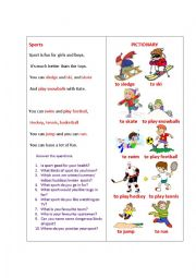 English Worksheet: SPORTS (a poem)