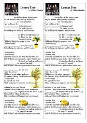 English Worksheet: Lemon Tree (song)