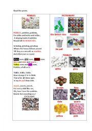 English Worksheet: PEBBLES (a poem)