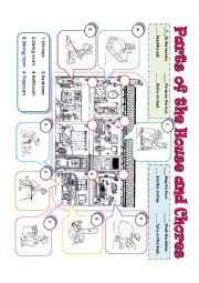 English Worksheet: PARTS OF THE HOUSE & CHORES
