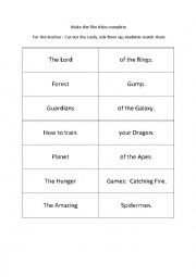english worksheets using movies worksheets page 815. Black Bedroom Furniture Sets. Home Design Ideas
