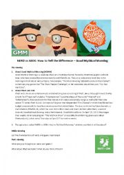 English Worksheet: Nerds vs Geeks