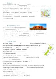 English Worksheet: Canada, Australia and New Zealand