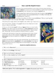 English Worksheet: Harry and the Reptile House
