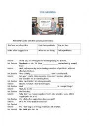English Worksheet: The meeting - gap filling