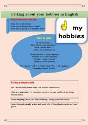 English Worksheet: Talking about HOBBIES + vocabulary, writing, test, speaking
