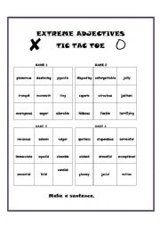 English Worksheet: Tic Tac Toe with Extreme Adjectives