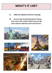 English Worksheet: Matching adjectives - describing places