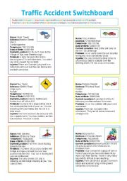 Traffic Accidents Reporting Role-Play Cards