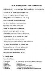 English Worksheet: W H Auden poem