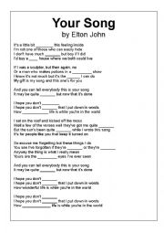 English Worksheet: Elton John- YOUR SONG