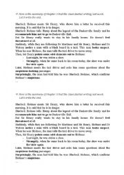 English Worksheet: The Hound of the Baskervilles, ch 3