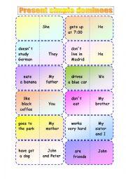 Present simple dominoes