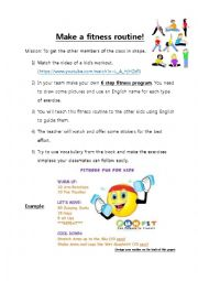 English Worksheet: Making a fitness video