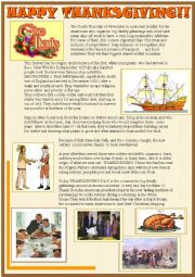 English Worksheet: Happy Thanksgiving 2 page reading comprehension
