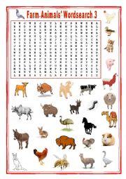 English Worksheet: Farm animals Wordsearch 3