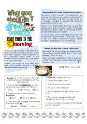 English Worksheet: Why you shouldn�t drink coffee first thing in the morning