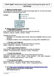 English Worksheet: acrostic poem