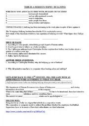 English worksheet: LISTENING BBC 6 minute English Bullying or normal competition