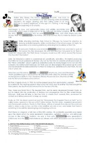 English Worksheet: Walter Disney + Modals of permission and obligation + reported speech