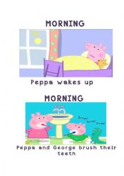 English Worksheet: Peppa Pig�s daily Routines Flashcards