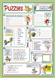 English Worksheet: BASIC PUZZLES