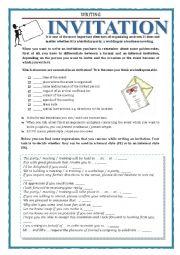 English Worksheet: WRITING - INVITATION
