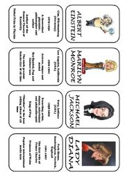 English Worksheet: Famous people speaking cards (was,were) part 1