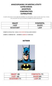 COMPARATIVES AND SUERLATIVES SUPER HEROES