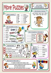 English Worksheet: MORE PUZZLES