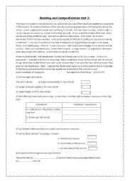 English Worksheet: reading and comprehension for 8th grade