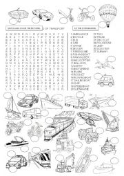 English Worksheet: WORDSEARCH - MEANS OF TRANSPORT