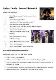 English Worksheet: Halloween Modern Family