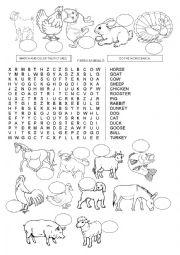 English Worksheet: WORDSEARCH - FARM ANIMALS