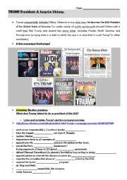English Worksheet: Trump President, a surprise victory