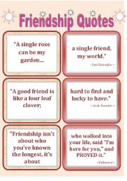 English worksheet: Quotes-2  FRIENDSHIP QUOTES