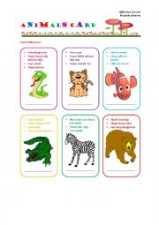 English Worksheet: Animals Card